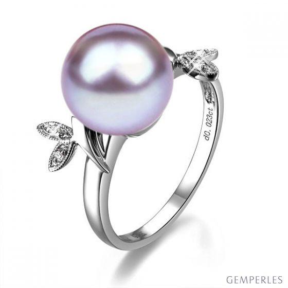 Bague en forme de feuille - Or blanc et perle lavande - Diamants