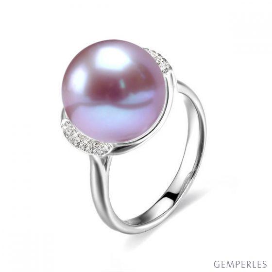 Bague perle d'eau douce et or lavande - Plateau circulaire en diamants