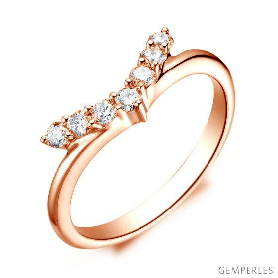Bague Femme Freedom - Or Rose, Diamants - Ailes de Colombe | Gemperles