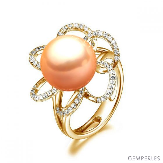 Bague fleur - Or jaune, diamants et perle rose