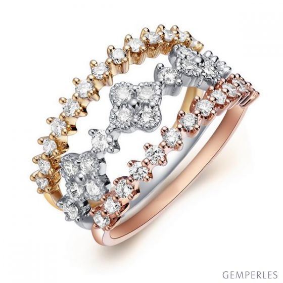 Bague 3 anneaux or jaune, blanc et rose. Myriade diamants | Classic Three Light