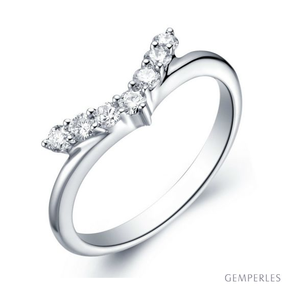 Bague Femme Freedom - Or Blanc, Diamants - Ailes de Colombe | Gemperles