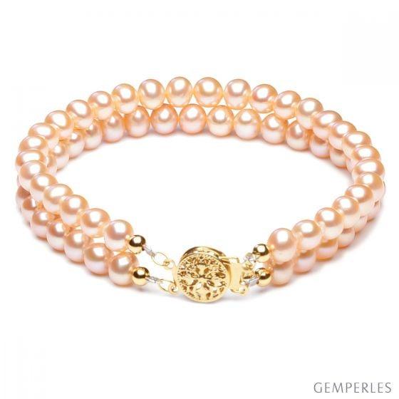 Bracelet 2 rangs perles roses - Perle eau douce de culture - 5/5.5mm