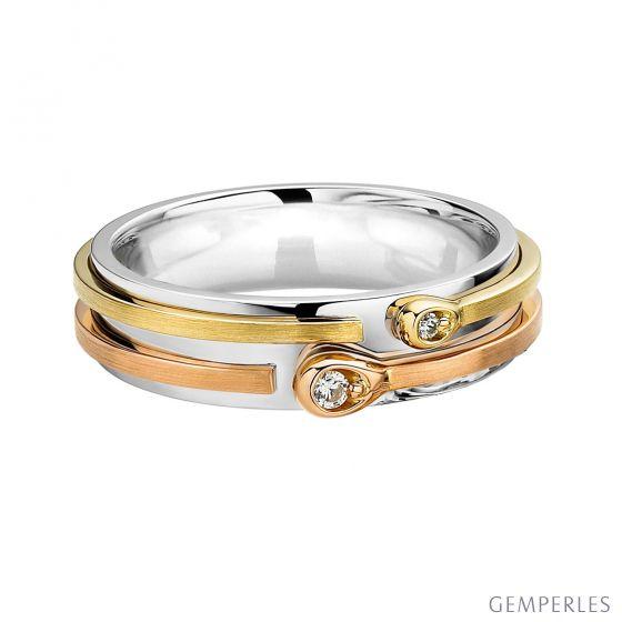 Alliance Femme 3 ors - Diamants - Allumettes diamantées