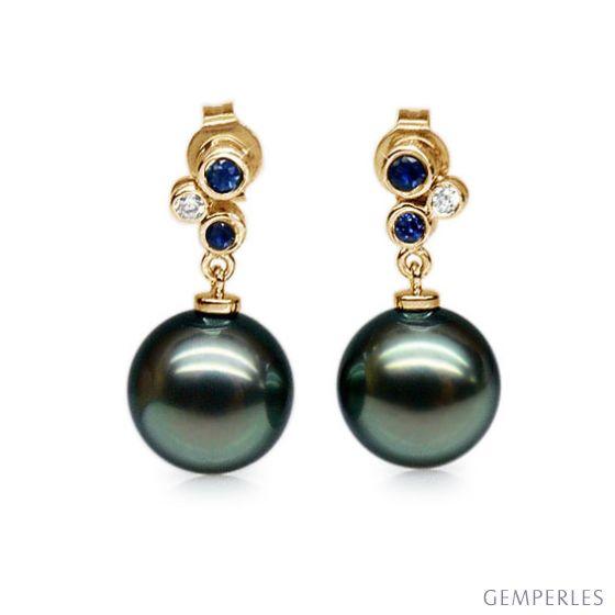Boucles d'oreilles - Or jaune - Perles de Tahiti - Saphirs - Diamants