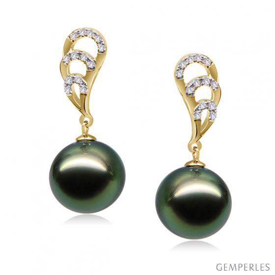 Orecchini Pendenti Paon - Perle di Tahiti Nere, Oro Giallo