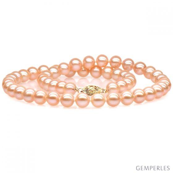 Collier perles roses - Perle de culture rose - Perle eau douce 7/7.5mm