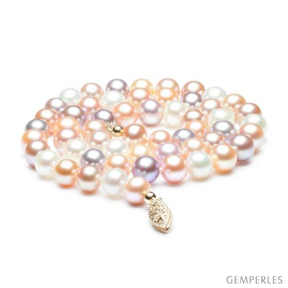 Collier de perles multicolores - Collier perles eau douce - 6.5/7mm