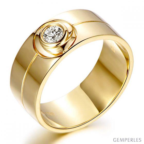 Bague homme chevalière - 8mm or jaune 18cts - Diamant | Octave