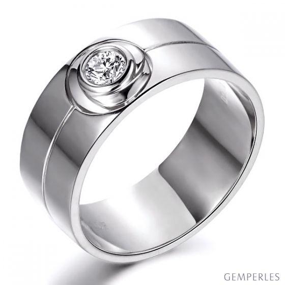 Bague homme chevalière - 8mm or blanc 18cts - Diamant | Octave