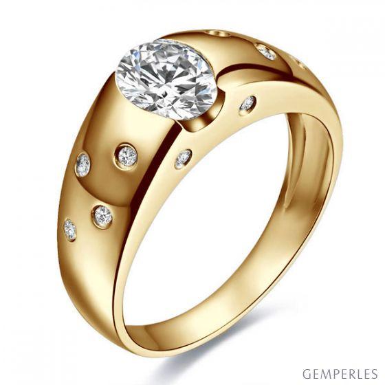 Bague pour homme or jaune 18cts - Mille éclats diamantés | Spencer
