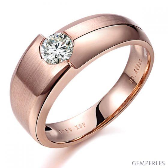 Bague homme duo d'or rose serti d'un diamant de 0.50ct | Gemperles