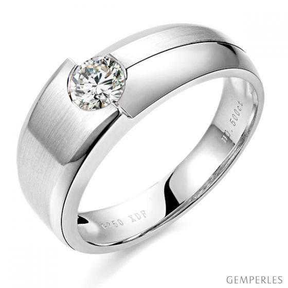 Bague homme duo d'or blanc serti d'un diamant de 0.50ct | Gemperles
