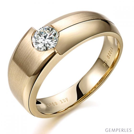 Bague homme Malcom - Duo d'or jaune serti d'un diamant de 0.50ct | Gemperles