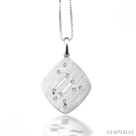 Pendentif astrologique - Constellation du lion - Or blanc, diamants