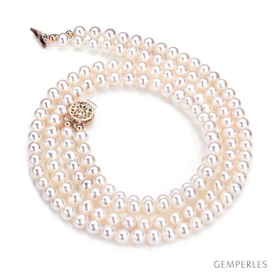 Collier double rang perles culture. Perle eau douce blanche 5/5.5mm