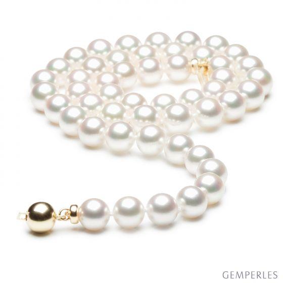 Collier perles Akoya luxe - Perle du Japon qualité GEMME / HANADAMA - 7/7.5mm
