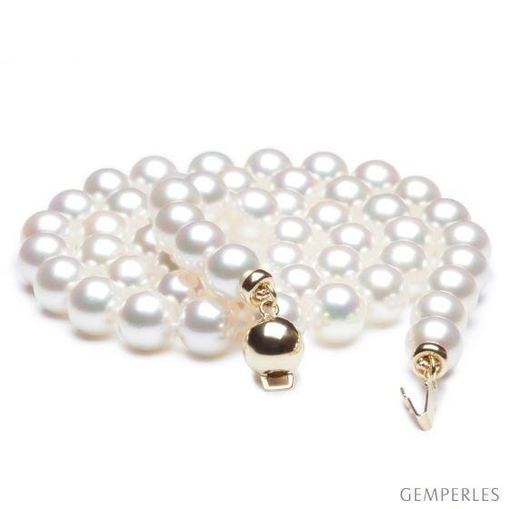 Perle collier - Collier perle blanche de mer - Perles Japon - 6.5/7mm