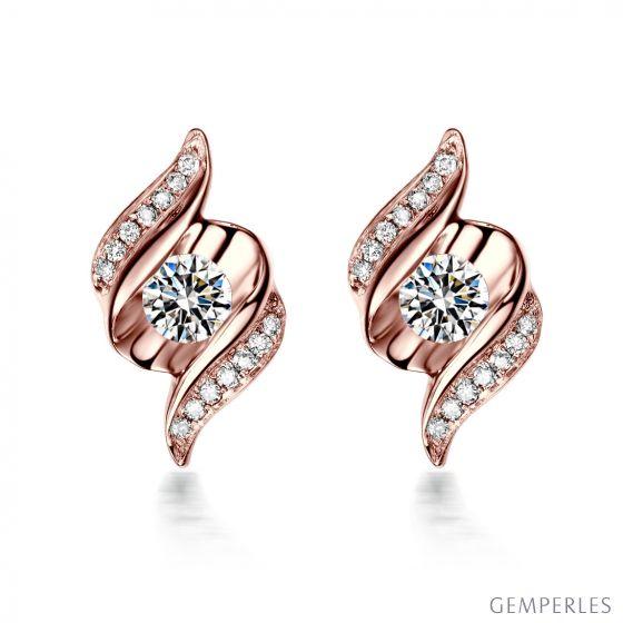 Boucles d'oreilles pendantes. Or rose Diamants. Carat personnalisable