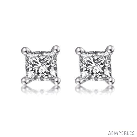 Puces diamants taille princesse 0.20ct. Or blanc. Personnalisable