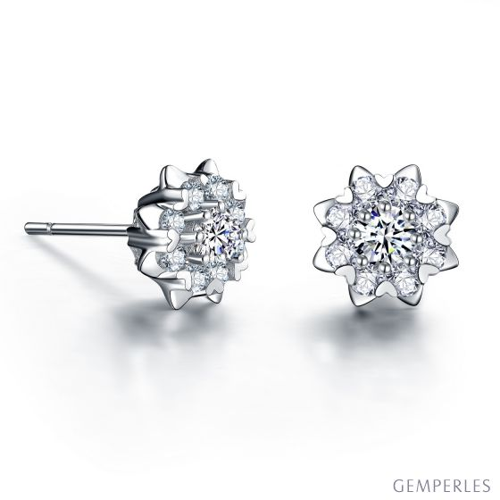 Boucles d'oreilles meravigliosa. Or blanc, diamants 0.26ct