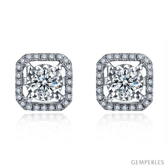 Boucles Oreilles carrées diamants 0.40ct. Or blanc