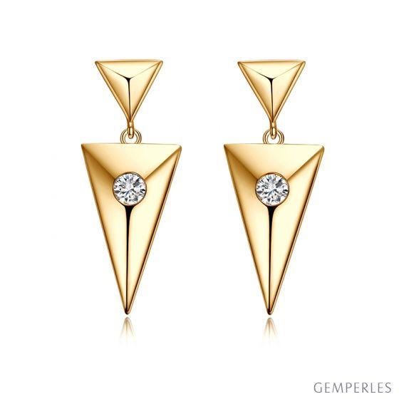Pendants d'oreilles triangles Or jaune. Diamants 0.10ct