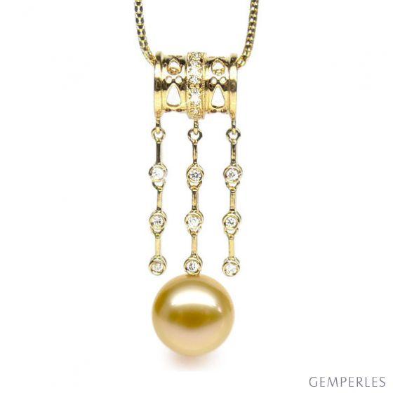 Ciondolo cilindro oro giallo - perla d'Australia dorata - 12/13mm