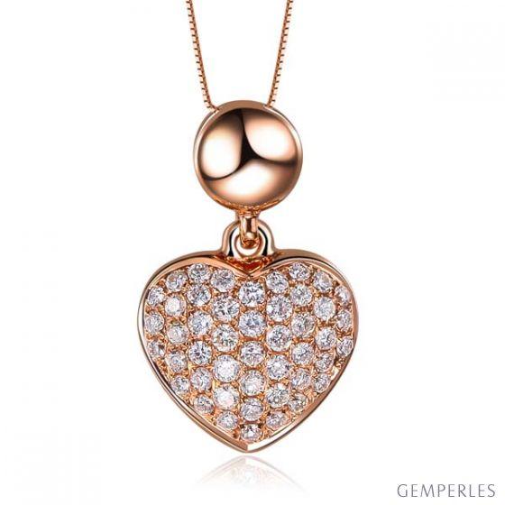 Pendentif coeur pavé de diamants - Or rose et diamants 0.23ct