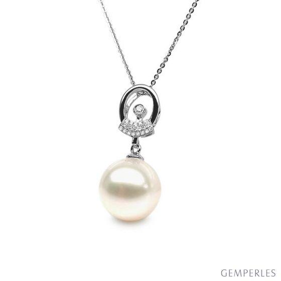 Pendentif hublot - Or blanc et perle de culture - Diamants