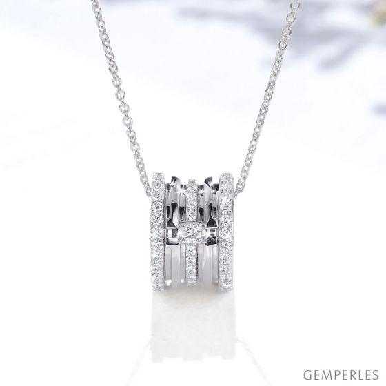 Pendentif mon Chou. Cylindre Or blanc et Diamants