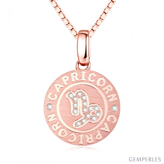 Pendentif Capricorn Or rose. Signe du capricorne. Zodiaque