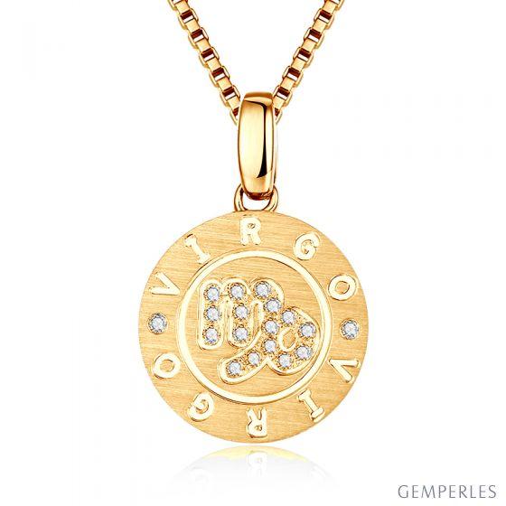 Pendentif Virgo Or jaune. Signe de la vierge. Zodiaque