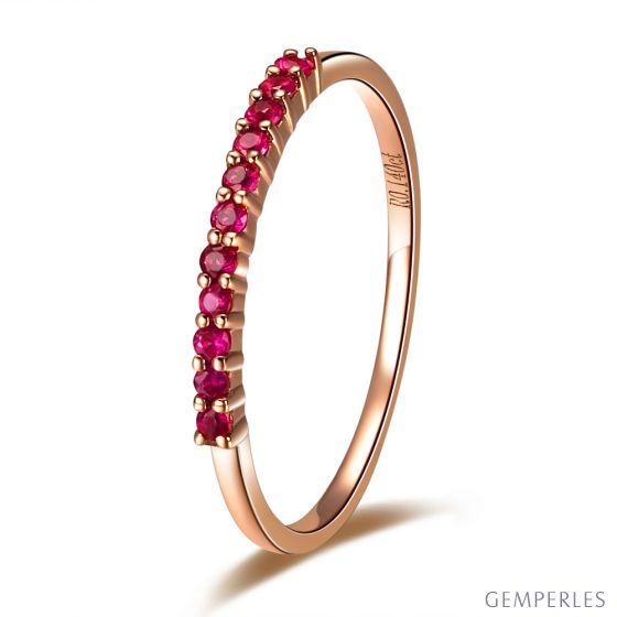 Bague or rose 18 carats - Rubis de Birmanie - Anneau