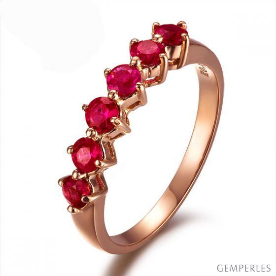 Bague rubis de Birmanie or rose - 6 rubis alignés en style