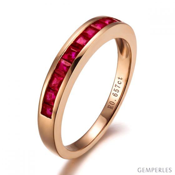 Bague contemporaine or rose - Rubis sertis rails de 0.60 carat
