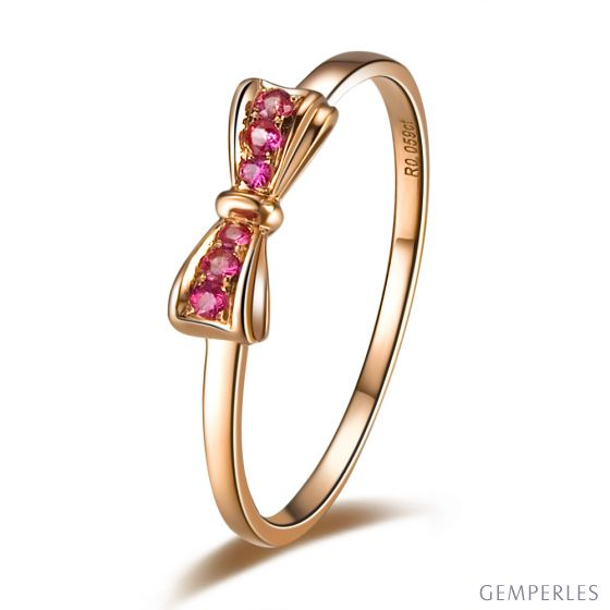 Bague noeud papillon - Or rose, rubis