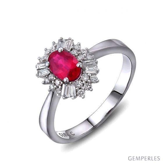 Bague fiançailles rubis, diamants or blanc