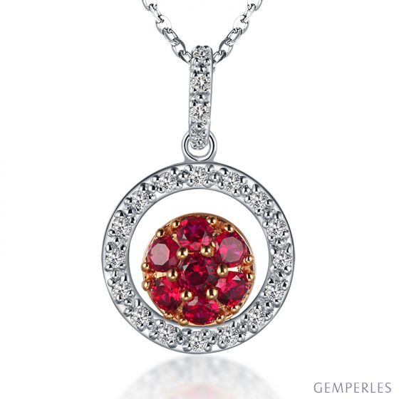 Pendentif rond en or blanc - Rubis et diamants en pendeloque double