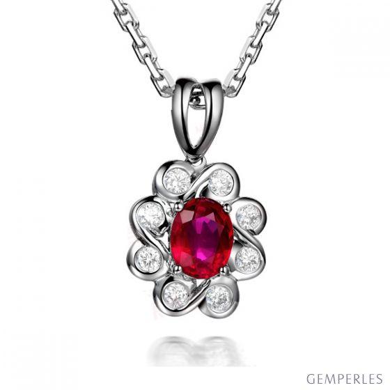Pendentif fleur rubis diamant en Or blanc