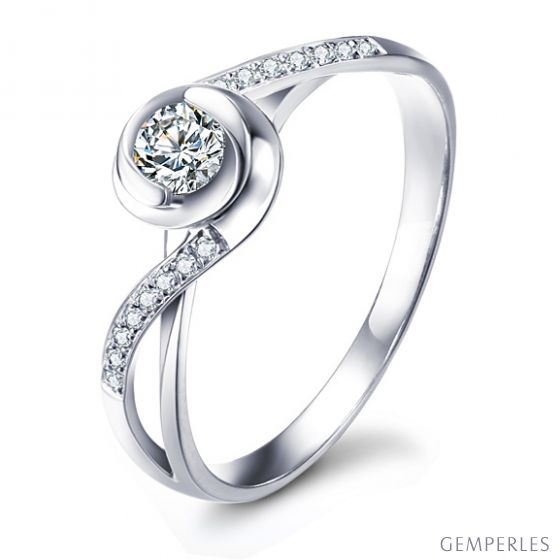 Bague Solitaire A Julie - Or Blanc & Diamants - Alfred de Musset | Gemperles