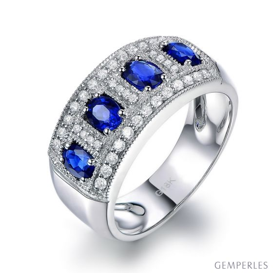 Bague quatuor saphirs. Pavage diamant. Or blanc | Bhagya