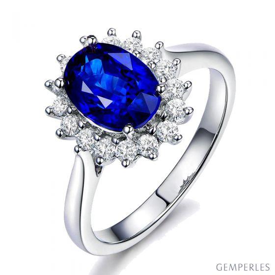 Bague Fleur de saphir, diamants Or blanc - Création florale classique