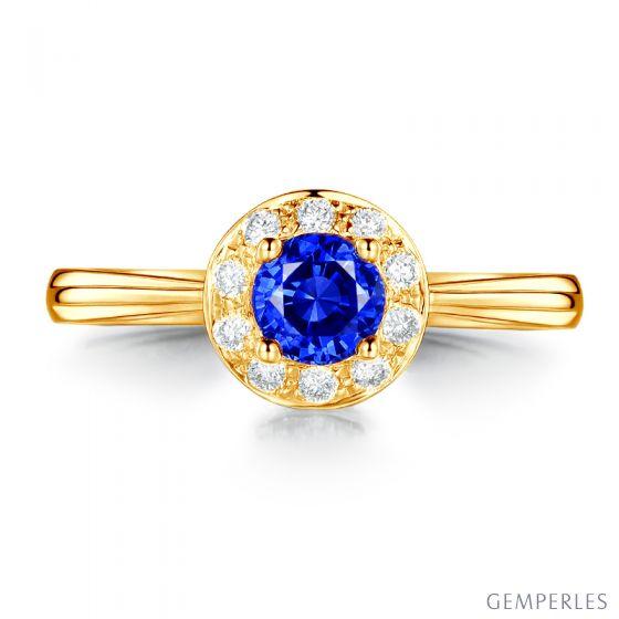 Bague fiançailles solitaire. Saphir bleu Or jaune et diamants