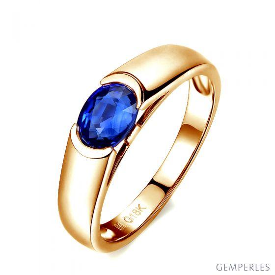 Bague de fiançailles saphir bleu intense et or jaune 18cts