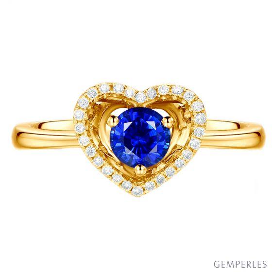 Bague coeur diamant saphir. Or jaune. Love me tender