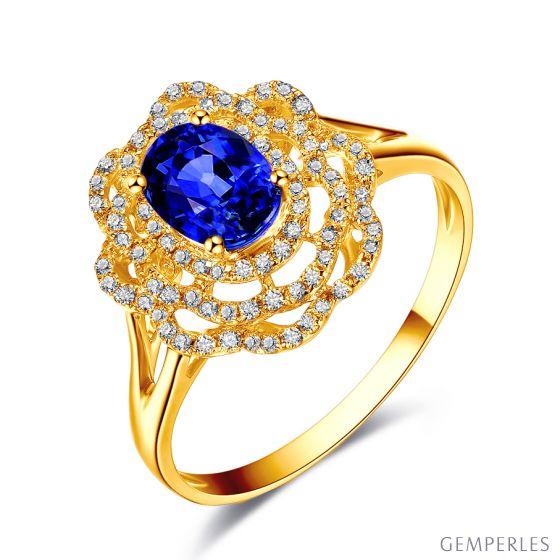 Bague fiancailles saphir bleu diamants. Or jaune, fleur éclose
