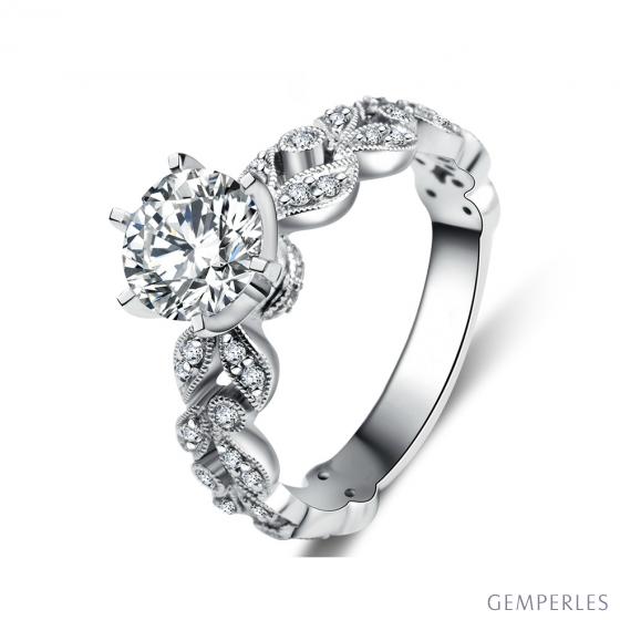Anello di Fidanzamento Sensation - Oro Bianco e Diamante Solitario Composto | Gemperles - 2