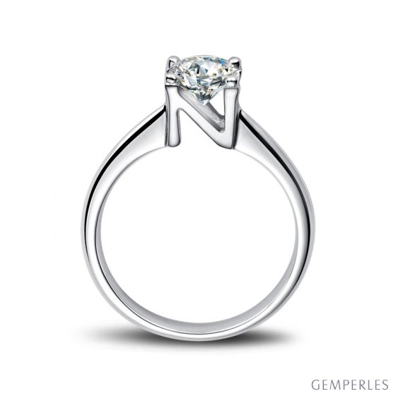 Bague prénom - Lettre N - Diamant, or blanc | Gemperles