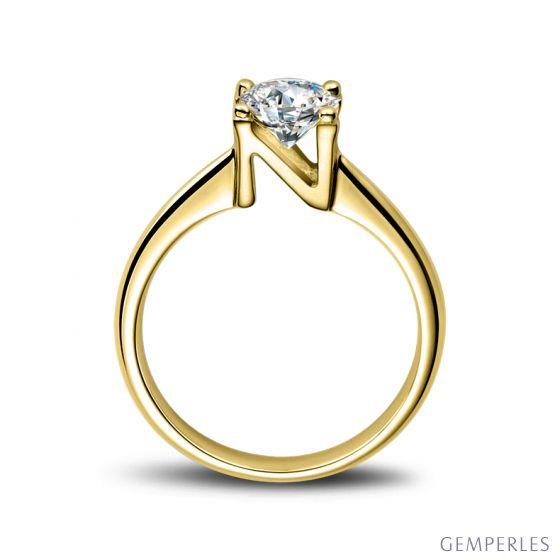 Bague prénom - Lettre N - Diamant, or jaune   Gemperles